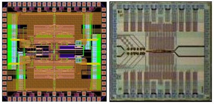 Layout und Chipfoto des A/D-Umsetzers