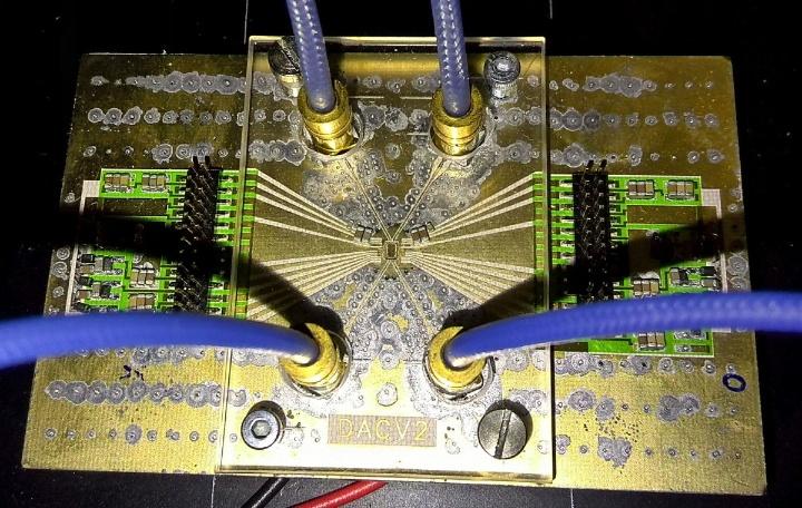 Aufbau des 100 GS/s DAU-Chips auf HF-Paltinenmaterial und Kühlkörper (c)