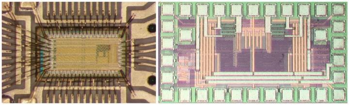 links: DPWPM Chipfoto, rechts: Schaltverstärker Chipfoto