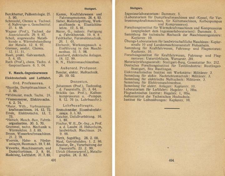 Auszug aus Schröders Allgemeinem Hochschulführer Wintersemster 1937/38 (c)